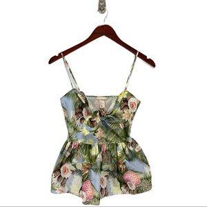 H&M- Tropical Sweetheart Peplum Top Size 2